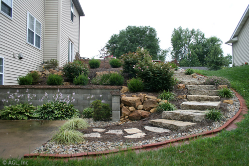 custom landscaping with stone steps